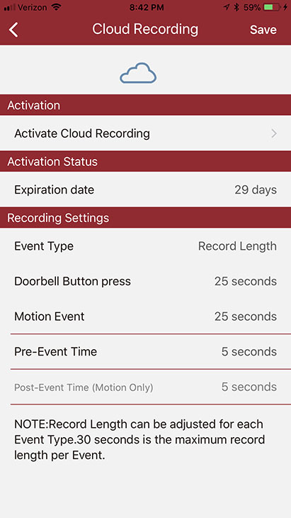 NuTone Knock cloud recording options