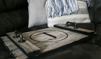 farmhouse serving tray close up view. Letter J Monogram