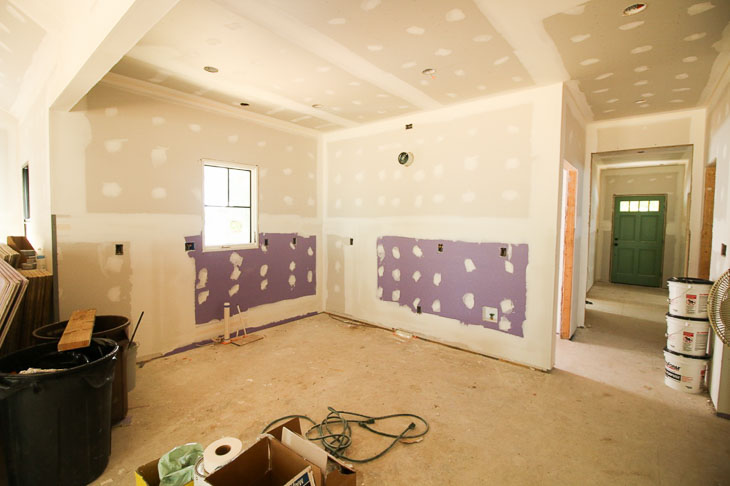 kitchen purple drywall