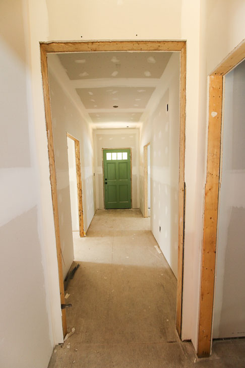 drywall installed in hallway