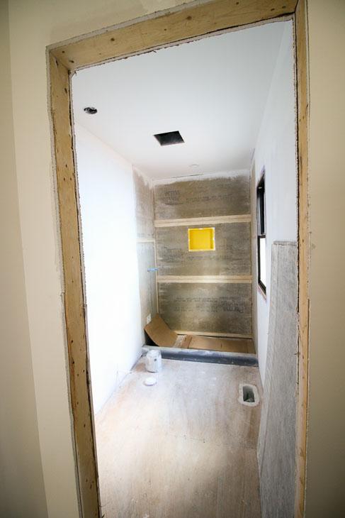 master bathroom pre-tile