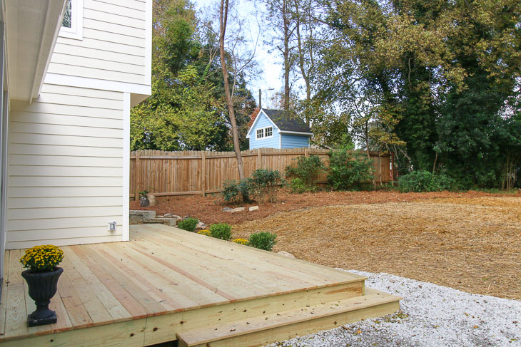 backyard after transformation view toward privacy fence