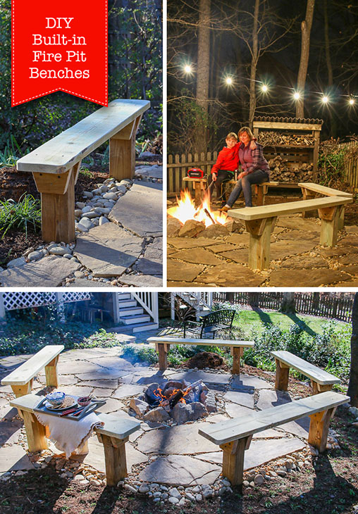 DIY Built In Fire Pit Benches