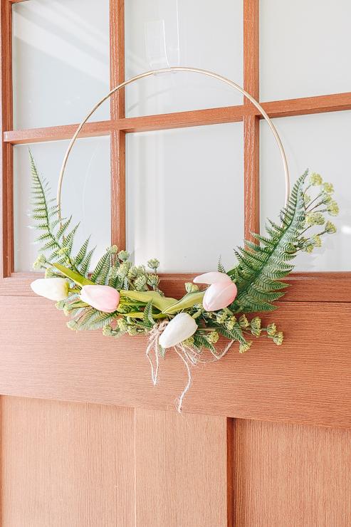 DIY Modern Spring Floral Hoop Wreath
