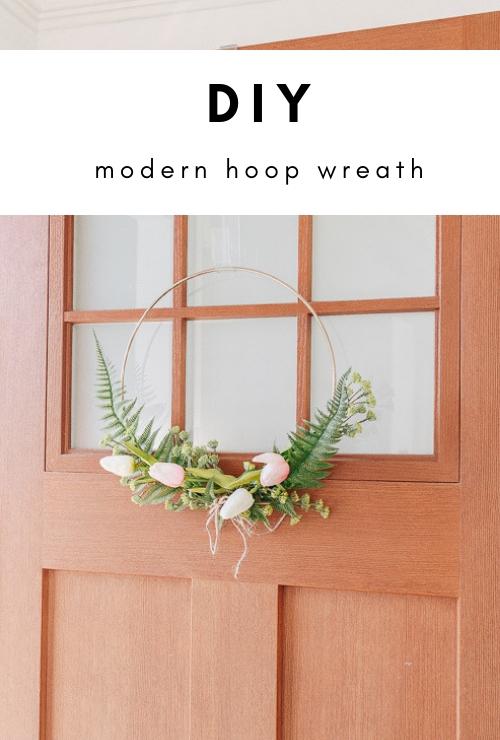 DIY Modern Hoop Wreath for Spring
