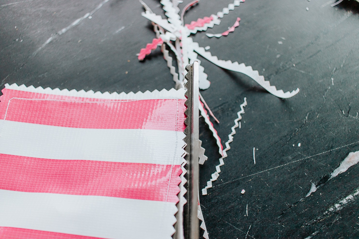 Even up the edges of your newly sewn coasters with your pinking shears
