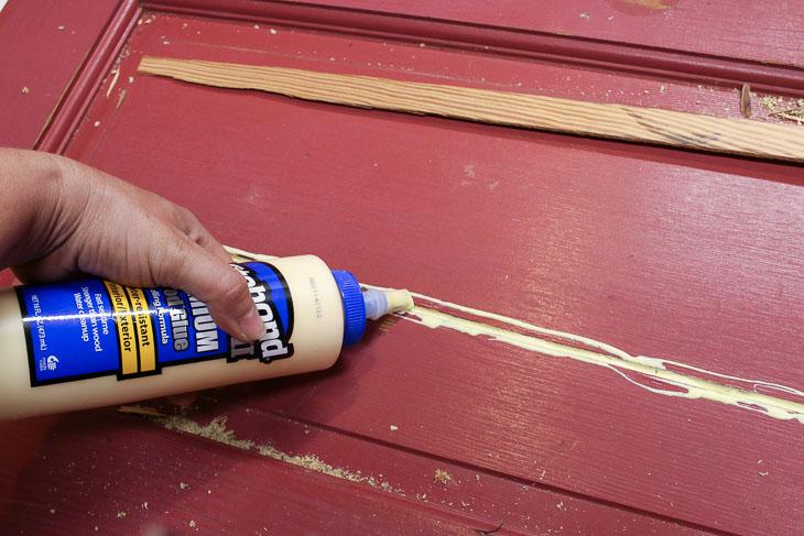 Add lots of wood glue to door crack