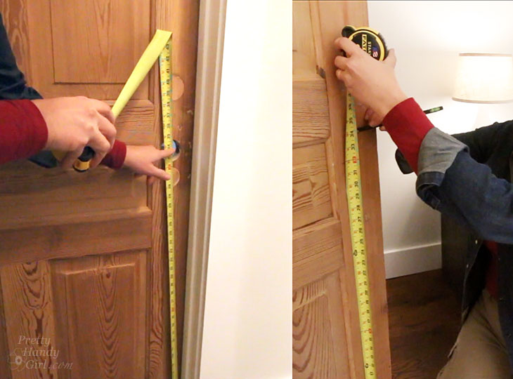 Measure and mark door knob heights