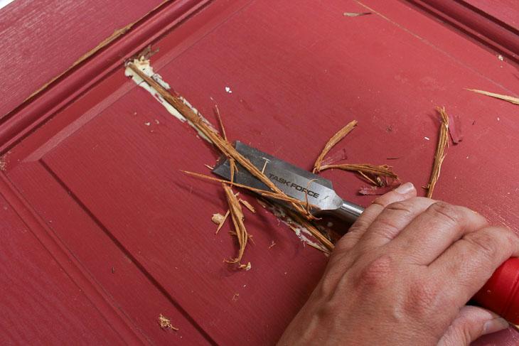 Chisel off excess wood spline