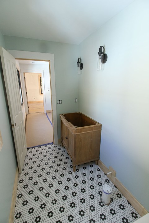 Installing vanity in upstairs bathroom