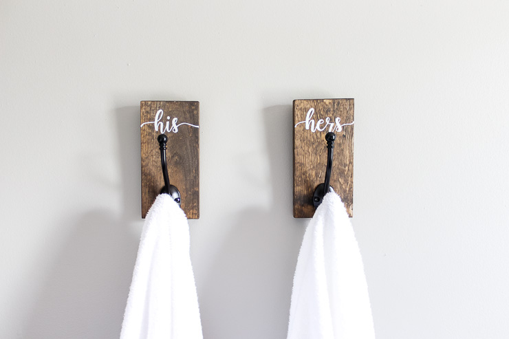 Finished His and Hers towel hooks