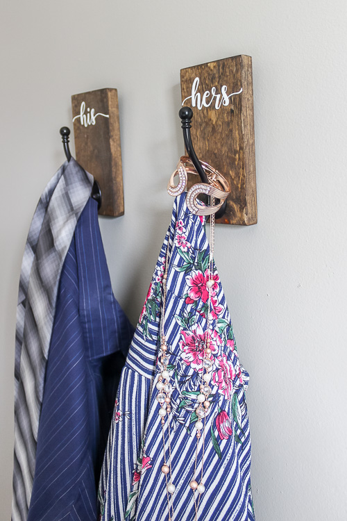 DIY his and hers Hooks to hang up clothes or accessories