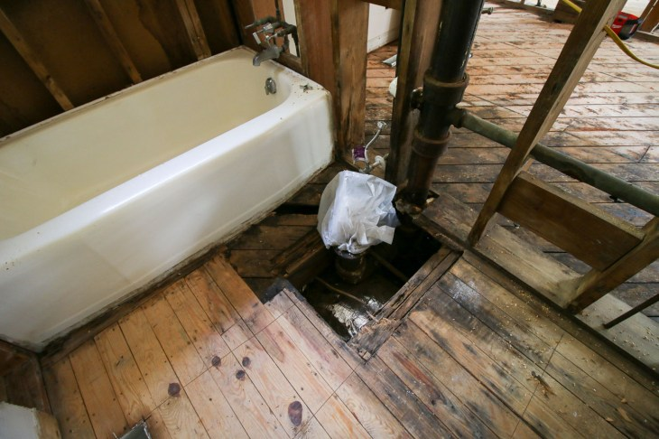 rotted floor around toilet
