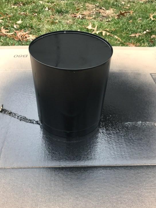 Black base coat over popcorn tin