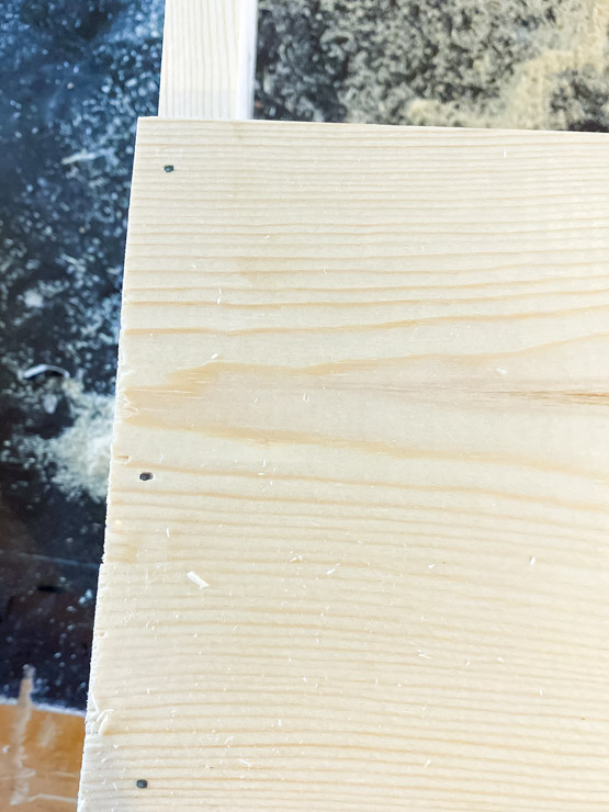 Fill in nail holes and imperfections with wood filler