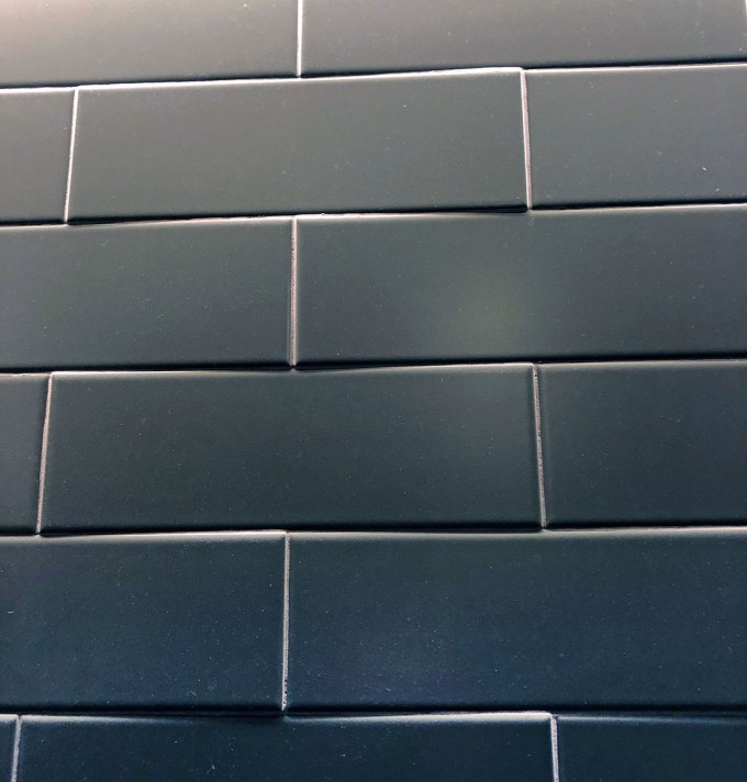 bowed tiles at 50% offset shows shadows and lippage