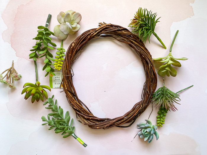 faux succulent wreath supplies