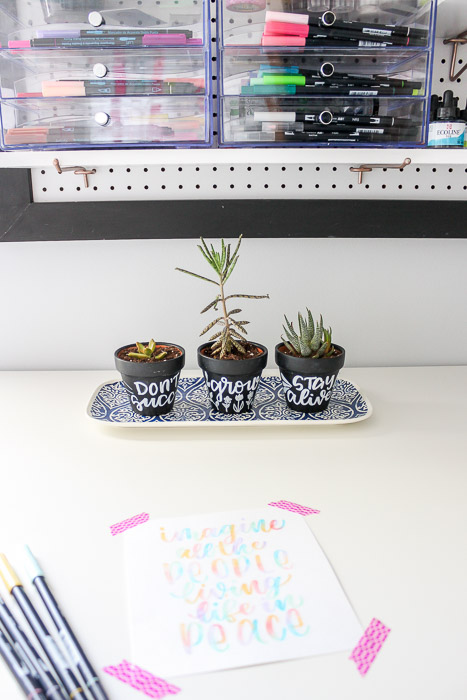 mini chalkboard pots in craft room