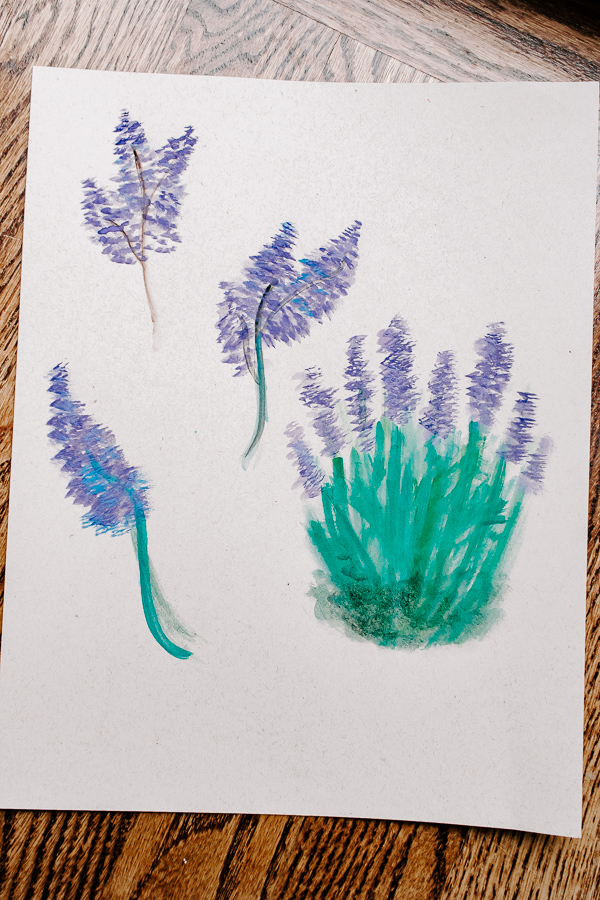 Your finished watercolor painted lavender plants!