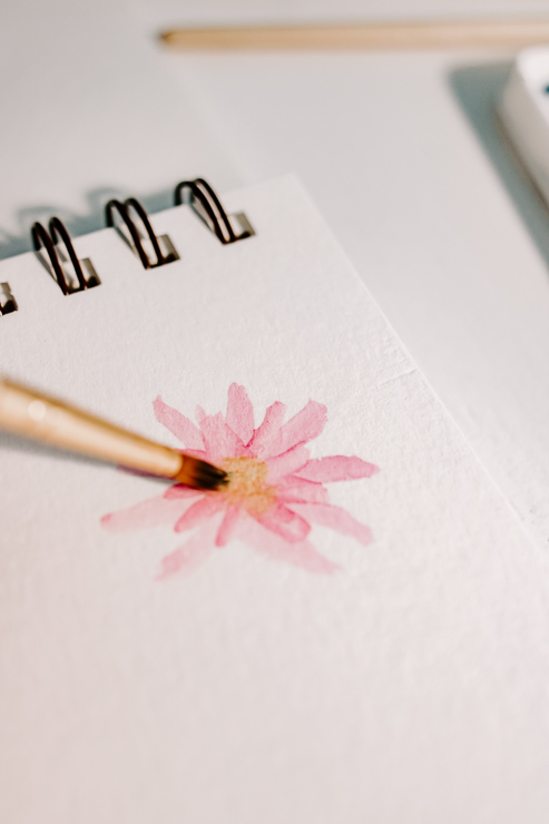 painting a pink watercolor daisy