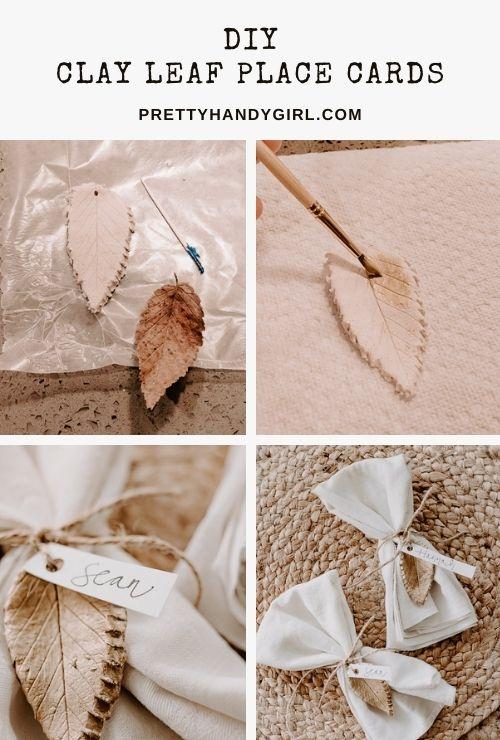 diy clay leaf place cards