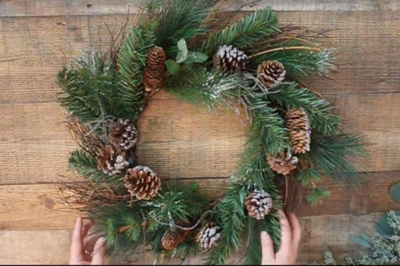 cheap pine wreath from thrift store