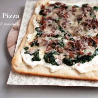 Ricotta Pizza with Spinach and Prosciutto