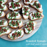 Roasted Tomato Crostini with Basil Pesto