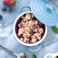 Mixed Berry Crumble in Le Creuset Mini Cocottes