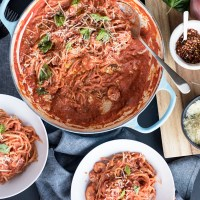 Spaghetti and Shrimp in a Creamy Tomato Sauce