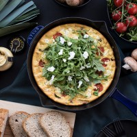 Leek and Mushroom Frittata with a Spoonful of Maille (Recipe)