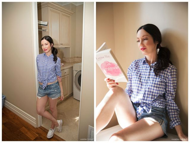 J. Crew Gingham Shirt and White Converse