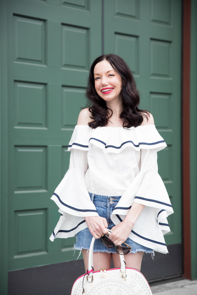 Fashion Blogger Lisa Valerie Morgan wears Storets off shoulder top