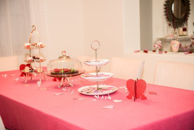 Setting the table for Galentine's Day