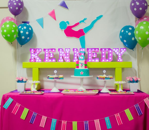 Bright And Colorful Gymnastics Birthday Party Pretty My Party Party Ideas