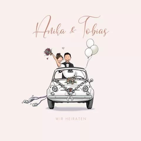 Ballonkarte Just Married Auto Hochzeit Heliumballons Heiraten