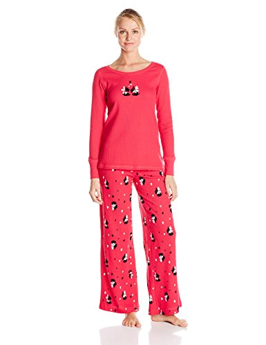 Hue Sleepwear Women's Classy Scotty Thermal Pajama Set