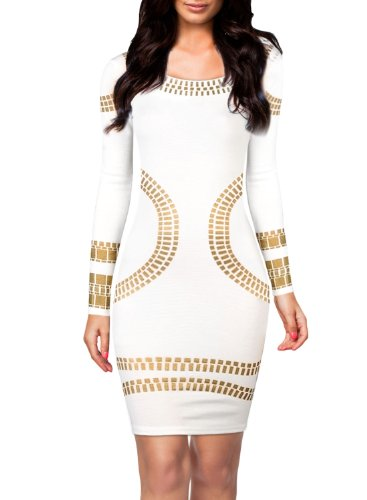 Miusol® Women's Cut out Long Sleeves Kim Egypt Gold Foil Print Cocktail Dress