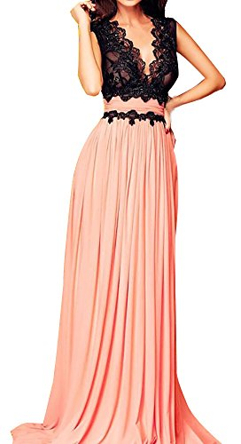 Roswear Women's Sleeveless Deep-V Neck Lace Bodice Contrast Maxi Evening Dress