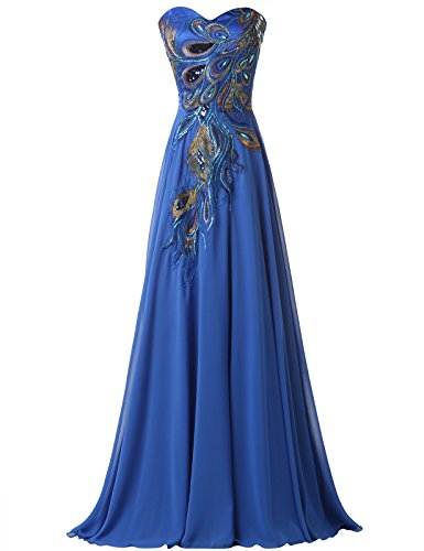 GRACE KARIN® Long Strapless Embroidery Prom Dress A-line CL6168 (Multi-Colored)