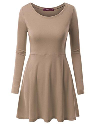 Doublju Womens Casual Simple Designed Long Sleeve Flare Short Dress