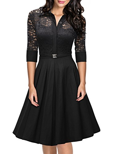 Missmay® Women's Vintage 1950s Style 3/4 Sleeve Black Lace Flare A-line Dress