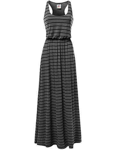 Awesome21 Women's Line Striped Sleeveless Tank Racerback Long Maxi Dresses