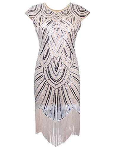 PrettyGuide Women 1920s Gastby Diamond Sequined Embellished Fringed Flapper Dress