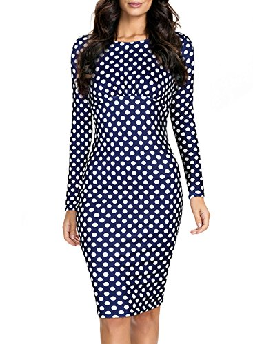 Miusol® Women's Classic Long Sleeve Polka Dot Wedding Brigesmaid Dress