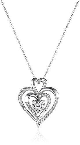 10k White Gold Diamond Heart Pendant Necklace (1/4 cttw, I-J Color, I2-I3 Clarity)
