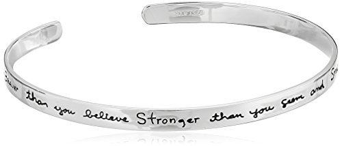 """Sterling Silver """"You are braver than you believe…"""" Cuff Bracelet, 7″"""