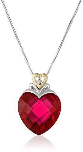 Sterling Silver and 14k Yellow Gold Created Ruby Heart and Diamond-Accent Pendant Necklace, (.006 cttw, I-J Color, I2-I3 Clarity), 18″