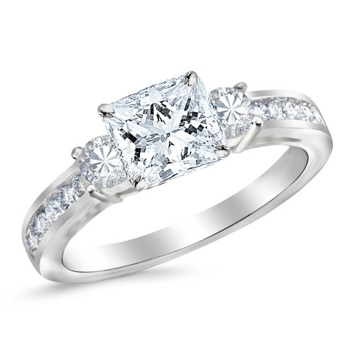 14K White Gold 3 Stone Channel Set Princess Cut Diamond Engagement Ring with a 0.5 Carat GIA Certified Princess Cut E Color VS1 Clarity Center Stone
