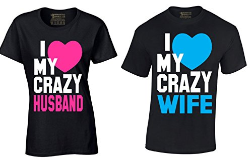 I Love My Crazy Husband and Wife Couple Shirts Valentines Day Gift